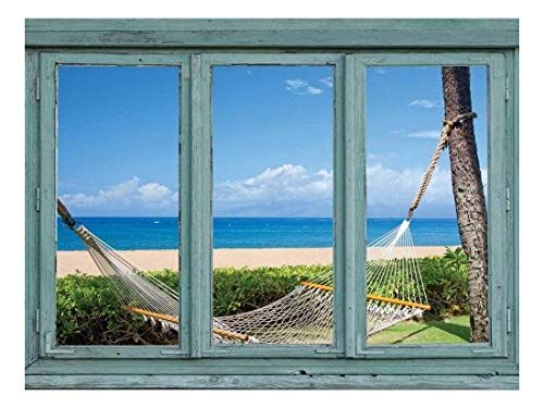 - wall26 - Hammock Between Two Palms at a Tropical Resort - Gorgeous Island View - Wall Mural, Removable Sticker, Home Decor - 36x48 inches