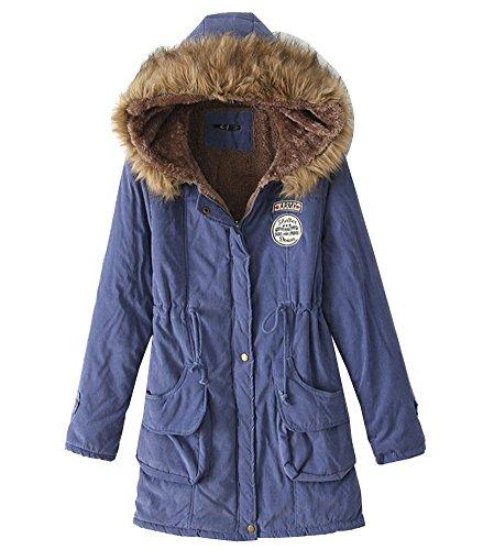 Longue Parka capuche fourrure Veste d'hiver vestes Bleu Manche Rembourre en Sapp fausse Femmes EwnxvStqtp