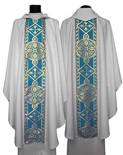 White Chasuble (White/blue Marian Gothic Chasuble 013-BN (white/blue))