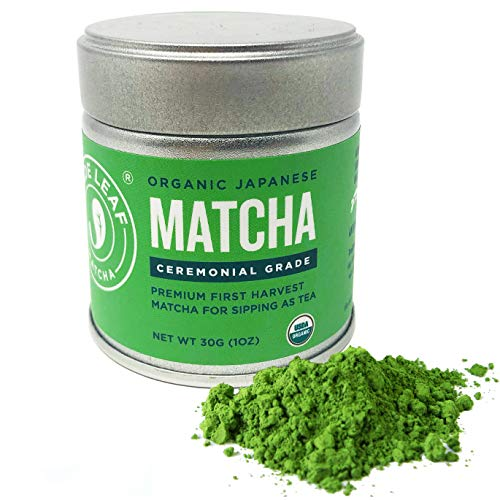 (Jade Leaf Matcha Green Tea Powder - USDA Organic - Ceremonial Grade (For Sipping as Tea) - Authentic Japanese Origin - Antioxidants, Energy [30g Tin])