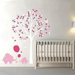 Elephant Balloon Tree Kid Baby Room Nursery Wall Decal Vinyl Sticker Wallpaper Mural Novelty Home Decoration 175x190cm Christmas (White+Blush+Pink)