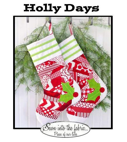 Sewn Into The Fabric Pattern Card for ''Holly Days'' Quilted Christmas Stocking (18