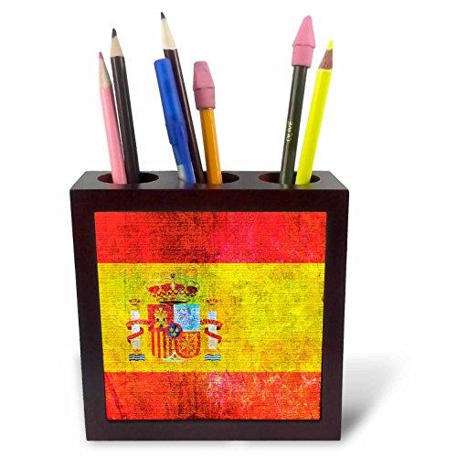 3dRose Andrea Haase Grunge Flag Art - Distressed Style Grunge Flag Of Spain - 5 inch tile pen holder (ph_268086_1) by 3dRose