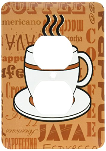 3dRose lsp_58641_6 Coffee Lover Gift Coffee Words Print Brown Light Switch Cover