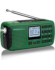 Retekess HR11S Radio Camping Solaire Urgence Dynamo AM/FM/SW Radio Portable Wind Up Radio avec Réveil Lecteur MP3 Lampe de Poche Enregistrement Alarme Lampe Rouge SOS(Verte)