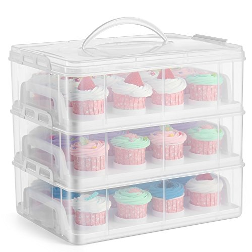 Flexzion Cupcake Carrier Holder Container Box (36 Slot, 3 Tier) - 36 Cupcakes Slot or 3 Large Cakes Pastry Clear Plastic Storage Basket Taker Courier with 3 Tier Stackable Layer Insert (Clear)]()