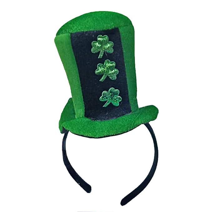 DEELIN DíA De San Patricio Verde IrlandéS Adulto Sombrero Trébol De Terciopelo Sombrero para Hombres Y Mujeres Sombrero Verde: Amazon.es: Ropa y accesorios