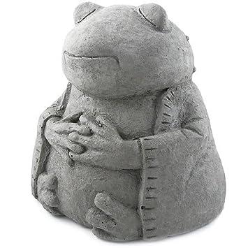 Meditating Frog   Cast Stone Garden Sculpture : Large Size, Grey Stone  Finish