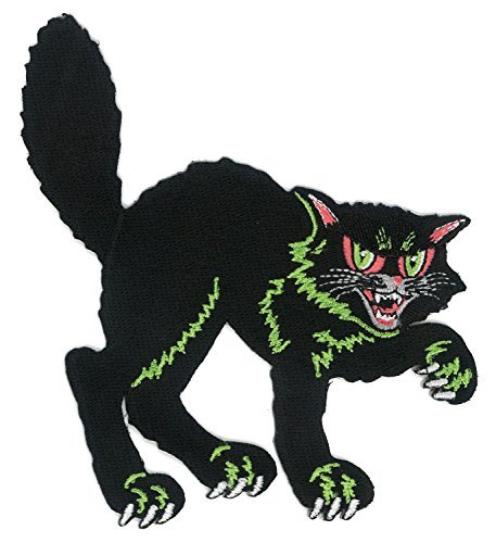 Halloween Black Cat Iron-on Patch]()