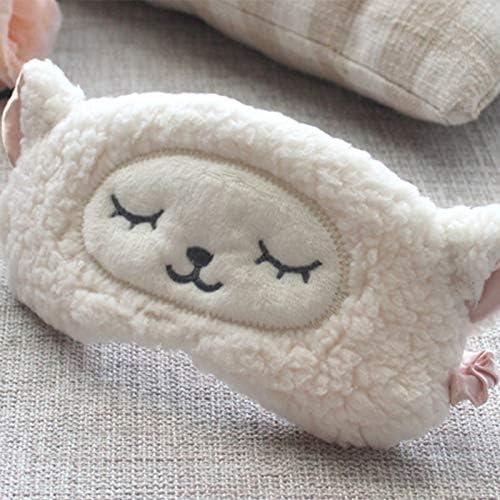 Gespout Masque pour les Yeux R/églable Masques de Sommeil Peluche Dessin Anim/é Mignon Mouton Design Respirant Masque de Couchage Dormir Sieste Voyage Occlusion Yeux Masque Enfant Adulte Unisexe