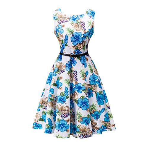 Yeokou Womens Sleeveless Floral Knee Length Cotton Hawaiian Flare Tank Dress (Large, Floral-03)
