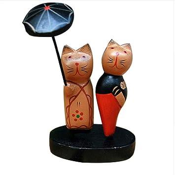 ALILEO Nordic Pareja De Madera Adornos De Gatos Artículos De Muebles Pareja Creativa Figuras De Madera del Gato Decoración del Hogar Accesorios para ...
