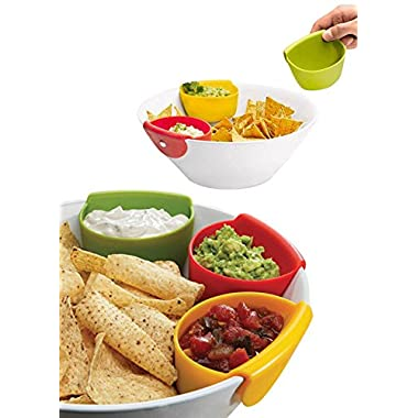 Chip Dip Set | Dipping Bowls | Set of 3 Silicone Chip Dip Bowls that Hang on the Edge of Most Chip Bowls for Salsa, Blue Cheese, Guacamole, Cheese