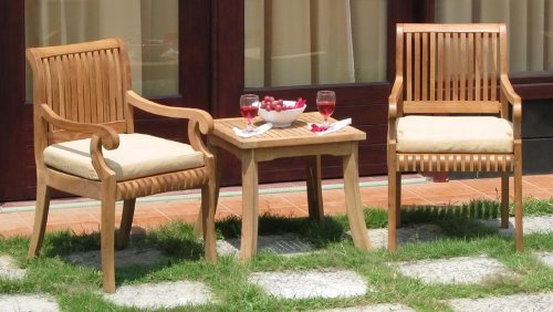 New Grade-A Teak 3Pc Set - 2 Giva Arm Chairs with side / End Table #WHDSGV1