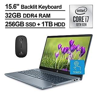 2020 HP Pavilion 15 FHD 1080P Touchscreen Laptop, Intel Core i7-1065G7 up to 3.9 GHz, MX250 4GB, 32GB RAM, 256GB SSD (Boot) + 1TB HDD, Backlit KB, Win10 + NexiGo Wireless Mouse Bundle