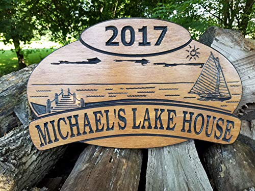 (Olga212Patrick Lake House Name Wood Plaque Sign Personalized Sailboat Dock Lake Sun Image Vacation Home Wooden Plaque Established Date 18 x 11)