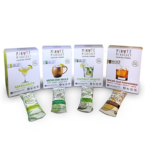 Minute Mixology Cocktail Mixers - Low Calorie, All Natural Ingredients Drink Mix for Liquor/Spirits & Non-Alcoholic Beverages (Traditional Pack: Moscow Mule, Marg, Old Fashioned & Mojito, 32 (Non Alcoholic Tequila)