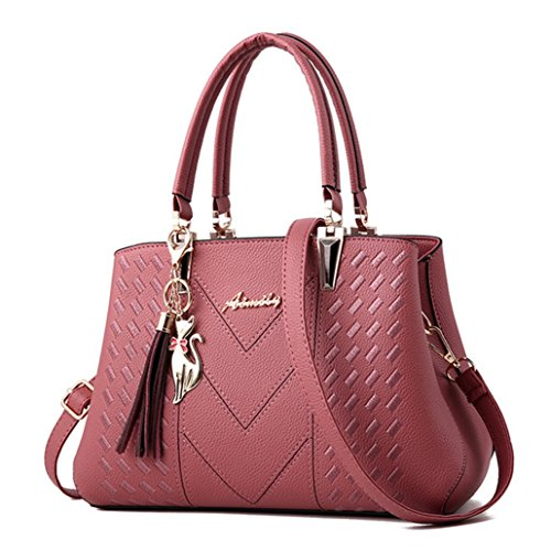 Nodykka Purses and Handbags Embroidery Thread Portable Zipper Fashion shoulder Top-handle PU Shoulder Bag Satchel