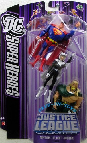 JUSTICE LEAGUE UNLIMITED DC SUPER HEROES SUPERMAN/AQUAMAN/DR. LIGHT Figures (Best Episodes Of Justice League Unlimited)