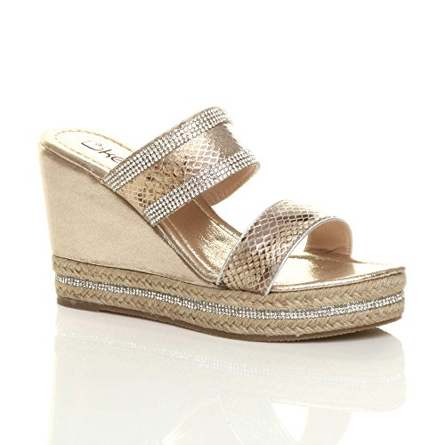 Heel Ladies Ajvani Taglia Wedge Espadrillas High Platform Womens Diamante Strappy Sandali Oro I55fa