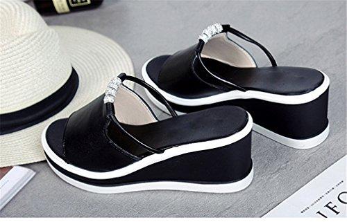 Les Pantoufles Forme Orteils Sur Les Cristal Femmes Diapositives Femmes Black D'été Pantoufles Ouverts Plate Lumino Femmes Femmes Coins Pour Chaussures Glissez Chaussures vfOq6nwx5