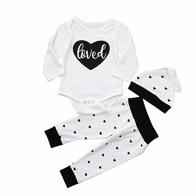 3pcs Newborn Baby Cotton Heart Print Romper+Pants+Hat Outfits Clothes