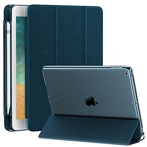 Infiland iPad 9.7 2018 Translucent Frosted Back Case Cover with Apple Pencil Holder Compatible with Apple iPad 9.7inch (6th Gen) 2018, Navy