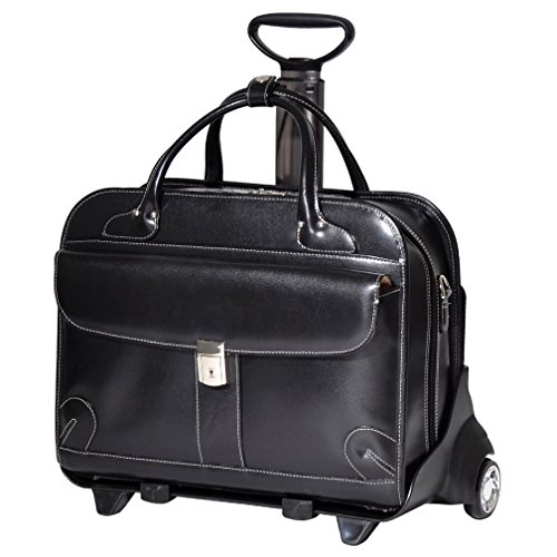Classic Vintage Solid Leather Carry On Rolling Laptop Roller Briefcase, Softsided Elegant Dark Colored Design, Multi Compartment, Fashionable, Checkpoint Friendly Travel Gadget Bag, Black, Size 15.4'' by S & E