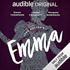 """""""Regal, haughty, with a pinch of sly wit, Emma Thompson's delivery is perfect for Jane Austen's 1815 masterwork.... Beneath the opulent lifestyles and light banter, Austen adds astute observations on the English class and social justice syste..."""