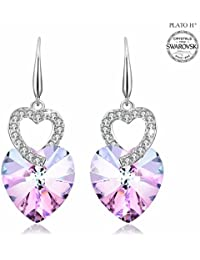 """Heart Earring PLATO H """"Love Heart"""" Earring with Swarovski Crystals Heart Drop Dangle Earring, Heart Shape Crystal Earring, Mother's Day Gifts / Birthday Gifts, Purple And Ocean Blue"""