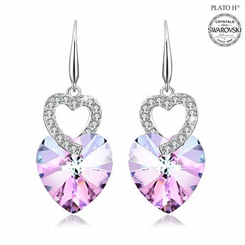 Earring For Mom PLATO H Heart of Ocean Earrings with Swarovski Crystals Fashion Jewelry Earring Heart Shape Earring for Her Purple - Shape Pink Heart