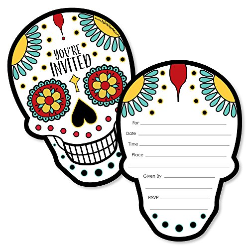 (Day Of The Dead - Shaped Fill-In Invitations - Halloween Sugar Skull Party Invitation Cards with Envelopes - Set of)