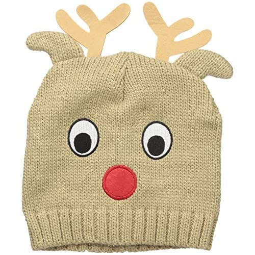 D&Y Women's Reindeer Ugly Christmas Beanie, Camel, One Size