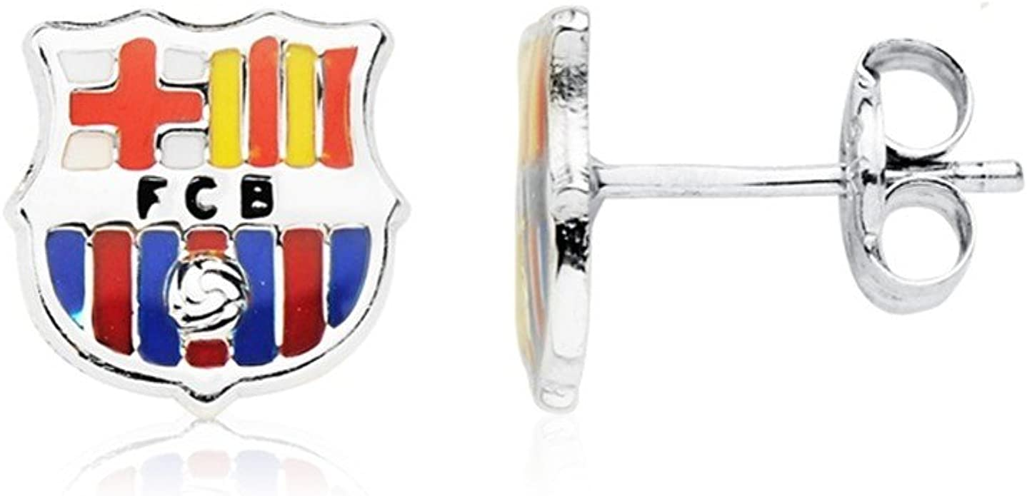 Pendientes escudo F.C. Barcelona oro blanco ley 9k [AB4591]: Amazon.es: Joyería