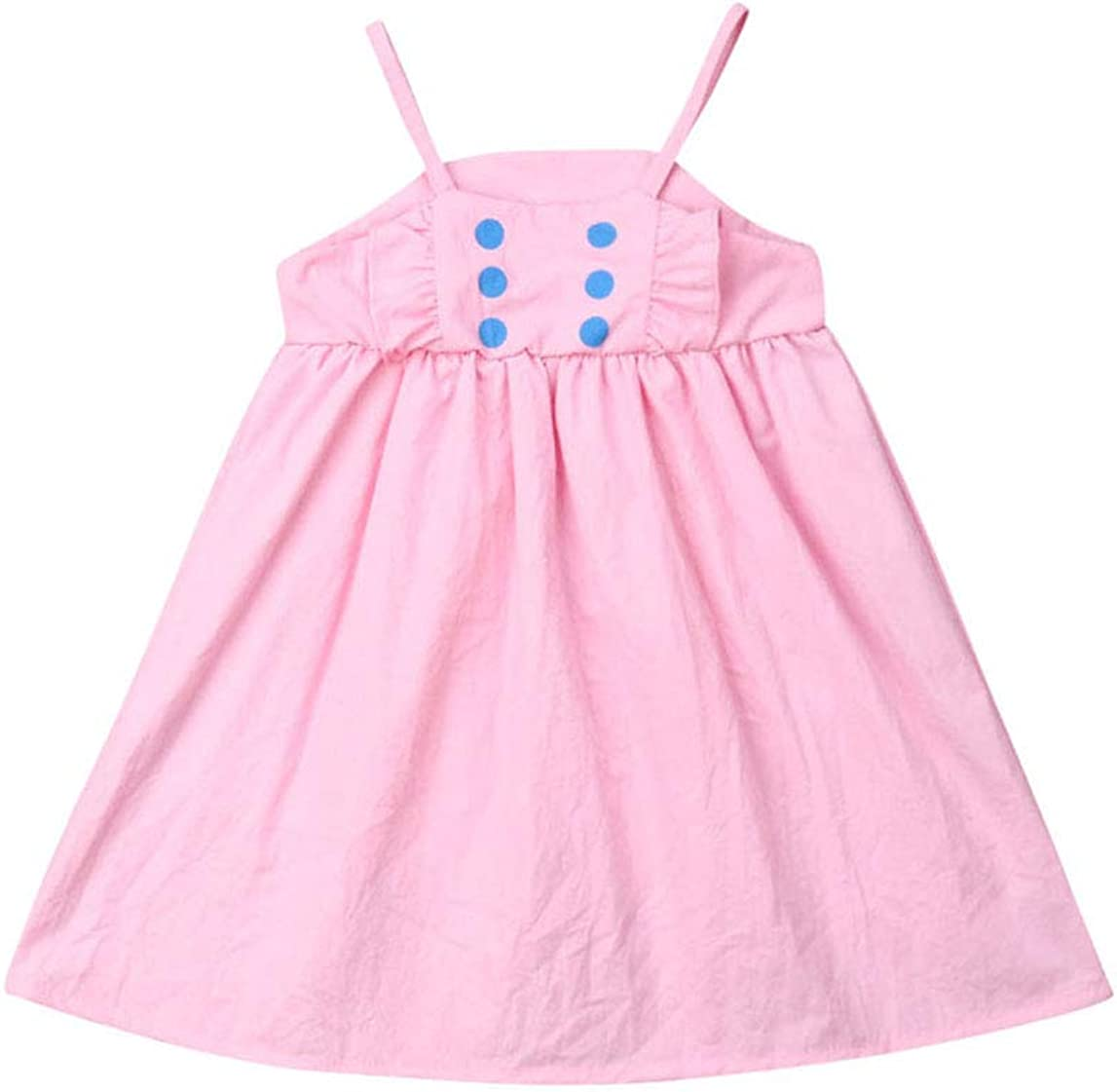 Toddler Kid Baby Girl Summer Sleeveless Spaghetti Straps Rainbow Striped Dress