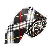 TOOGOO(R) Men Slim Narrow Tie Men Fashion Casual Skinny Slim Narrow Tie Formal Wedding Party Necktie, 7 (Black+White Plaid Stripes)