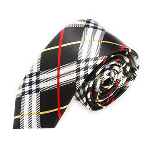Men Slim Narrow Tie - TOOGOO(R)Men Fashion Casual Skinny Slim Narrow Tie Formal Wedding Party Necktie, #7 (Black+White Plaid stripes)