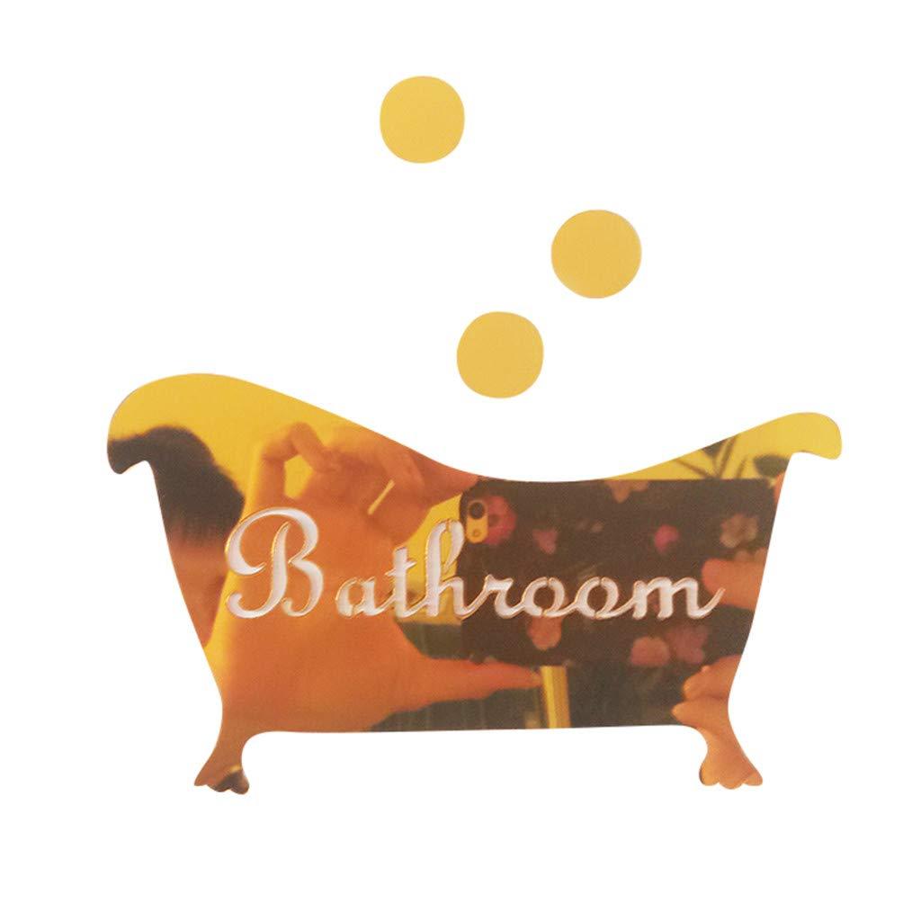 Routefuture Chambre /à Coucher Salon Salon D/écoration Autocollant Miroir 3D Signe dr/ôle dentr/ée Porte Enfants Hommes Femmes Salle de Bains Mur de Bricolage