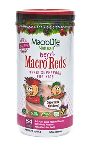 Macro Life Naturals Macro Greens - MacroLife Naturals Macro Berri Reds Multivitamin Drink Mix for Kids – All Natural with 1 Billion Probiotics & Enzymes to Aid Digestion & Support Immune system - Gluten Free & Vegan Ingredients