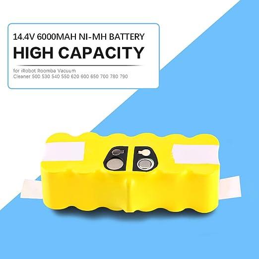 Fesjoy Batería para Irobot Roomba,Alta Capacidad 6000mAh 14.4V Batería para aspiradora Irobot Roomba 500530540540520600650700780790: Amazon.es: Hogar