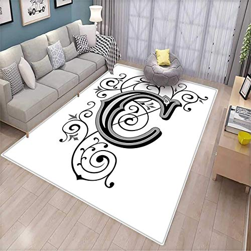 - Letter C Area Rugs for Bedroom Victorian Inspired Gothic Style Capital C Vintage Feminine Floral Branches Door Mats for Inside Black Grey White