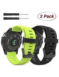 Garmin Fenix 3 Accessories, MoKo Soft Silicone Replacement Watch Band for Garmin Fenix 3 / Fenix 3 HR / Fenix 5X Smart Watch - BLACK & GREEN
