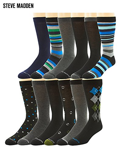 Steve Madden Mens 12 Pack Patterned Dress Socks