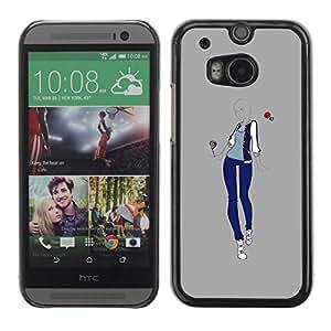 TopCaseStore / la caja del caucho duro de la cubierta de protección de la piel - Grey Love Design Style - HTC One M8