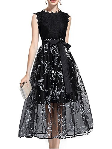 MissLook Women's Sleeveless Lace Patchwork Floral Print Skater Midi Dress – Black 12
