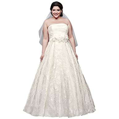 David\'s Bridal Printed Organza A-line Plus Size Wedding Dress Style ...