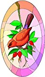 Wild Red, Purple & Brown Bird with Berries - Vinyl Stained Glass Film, Static Cling Window Decal