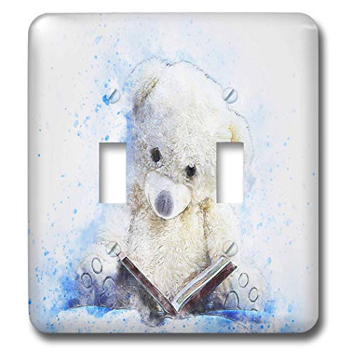 3dRose lens Art by Florene - Watercolor Art - Image of Painting of Really cute Teddy Bear Reads Book - Light Switch Covers - double toggle switch (lsp_300360_2)
