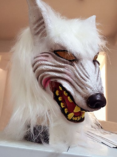 Costumes People Free Halloween (ElementDigital Hawlloween Werewolf Mask Halloween Costumes Latex Wolf Head Mask Latex Cosplay Prop Terrible Wolf Head Mask for Halloween (Werewolf)