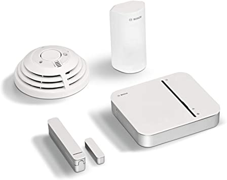 Bosch D/étecteur de Fum/ée /& Capteur dOuverture de Porte Smart Home Kit de D/émarrage S/écurit/é Blanc Alarme Maison Connect/ée Smartphone avec D/étecteur de Mouvements 8750000284